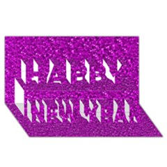 Sparkling Glitter Hot Pink Happy New Year 3d Greeting Card (8x4)