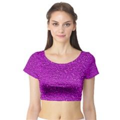 Sparkling Glitter Hot Pink Short Sleeve Crop Top
