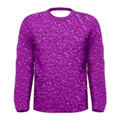 Sparkling Glitter Hot Pink Men s Long Sleeve T-shirts