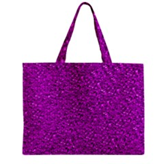 Sparkling Glitter Hot Pink Zipper Tiny Tote Bags