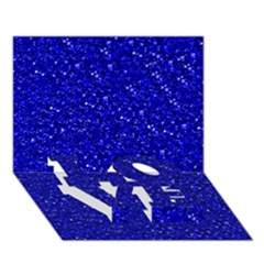 Sparkling Glitter Inky Blue LOVE Bottom 3D Greeting Card (7x5)
