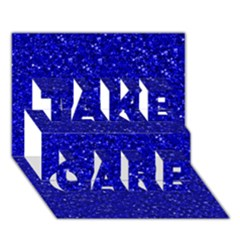 Sparkling Glitter Inky Blue TAKE CARE 3D Greeting Card (7x5)