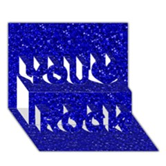 Sparkling Glitter Inky Blue You Rock 3D Greeting Card (7x5)