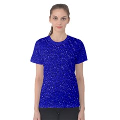 Sparkling Glitter Inky Blue Women s Cotton Tees