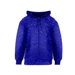 Sparkling Glitter Inky Blue Kids Zipper Hoodies