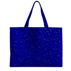 Sparkling Glitter Inky Blue Zipper Tiny Tote Bags