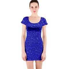 Sparkling Glitter Inky Blue Short Sleeve Bodycon Dresses