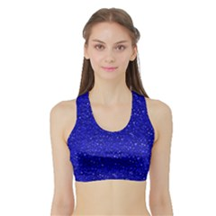 Sparkling Glitter Inky Blue Women s Sports Bra with Border