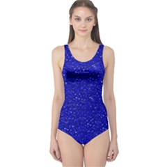 Sparkling Glitter Inky Blue Women s One Piece Swimsuits