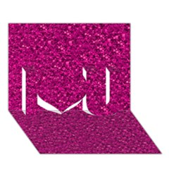 Sparkling Glitter Pink I Love You 3D Greeting Card (7x5)