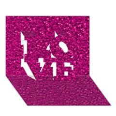 Sparkling Glitter Pink LOVE 3D Greeting Card (7x5)