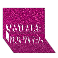 Sparkling Glitter Pink You Are Invited 3d Greeting Card (7x5)