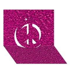 Sparkling Glitter Pink Peace Sign 3d Greeting Card (7x5)