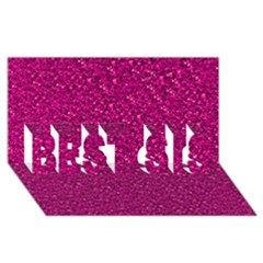 Sparkling Glitter Pink BEST SIS 3D Greeting Card (8x4)