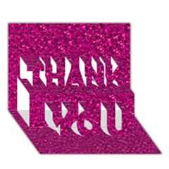 Sparkling Glitter Pink THANK YOU 3D Greeting Card (7x5)