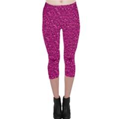 Sparkling Glitter Pink Capri Leggings
