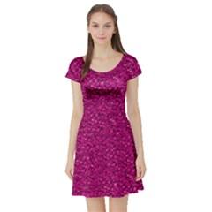 Sparkling Glitter Pink Short Sleeve Skater Dresses