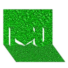 Sparkling Glitter Neon Green I Love You 3D Greeting Card (7x5)