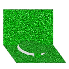Sparkling Glitter Neon Green Circle Bottom 3d Greeting Card (7x5)
