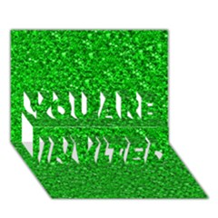 Sparkling Glitter Neon Green YOU ARE INVITED 3D Greeting Card (7x5)