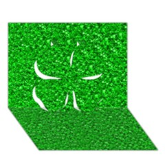 Sparkling Glitter Neon Green Clover 3D Greeting Card (7x5)