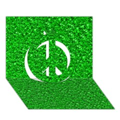 Sparkling Glitter Neon Green Peace Sign 3D Greeting Card (7x5)