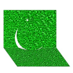 Sparkling Glitter Neon Green Circle 3D Greeting Card (7x5)