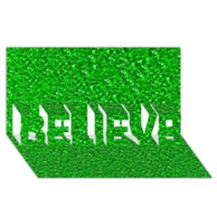 Sparkling Glitter Neon Green Believe 3d Greeting Card (8x4)