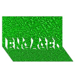 Sparkling Glitter Neon Green ENGAGED 3D Greeting Card (8x4)