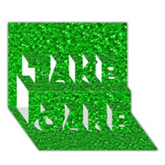 Sparkling Glitter Neon Green TAKE CARE 3D Greeting Card (7x5)