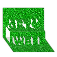 Sparkling Glitter Neon Green Get Well 3d Greeting Card (7x5)