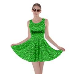 Sparkling Glitter Neon Green Skater Dresses