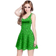 Sparkling Glitter Neon Green Reversible Sleeveless Dresses