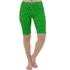 Sparkling Glitter Neon Green Cropped Leggings