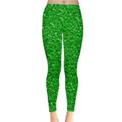 Sparkling Glitter Neon Green Winter Leggings