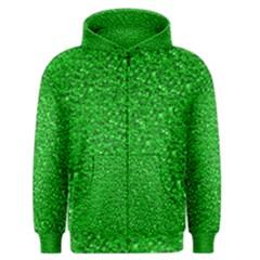 Sparkling Glitter Neon Green Men s Zipper Hoodies