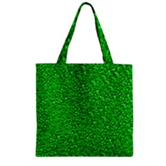Sparkling Glitter Neon Green Zipper Grocery Tote Bags