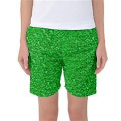 Sparkling Glitter Neon Green Women s Basketball Shorts