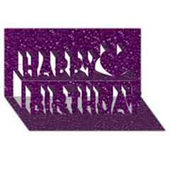 Sparkling Glitter Plum Happy Birthday 3D Greeting Card (8x4)