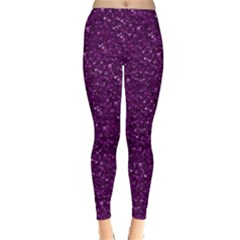Sparkling Glitter Plum Winter Leggings