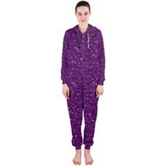 Sparkling Glitter Plum Hooded Jumpsuit (Ladies)