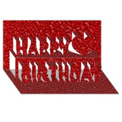 Sparkling Glitter Red Happy Birthday 3D Greeting Card (8x4)