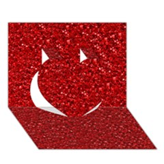 Sparkling Glitter Red Heart 3D Greeting Card (7x5)