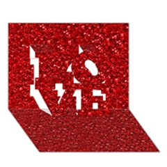 Sparkling Glitter Red LOVE 3D Greeting Card (7x5)