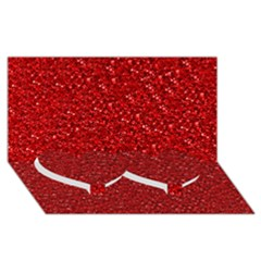 Sparkling Glitter Red Twin Heart Bottom 3D Greeting Card (8x4)