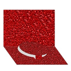 Sparkling Glitter Red Circle Bottom 3d Greeting Card (7x5)