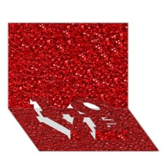 Sparkling Glitter Red Love Bottom 3d Greeting Card (7x5)