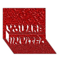 Sparkling Glitter Red YOU ARE INVITED 3D Greeting Card (7x5)