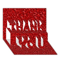 Sparkling Glitter Red Thank You 3d Greeting Card (7x5)