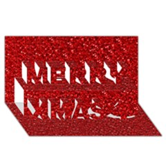 Sparkling Glitter Red Merry Xmas 3D Greeting Card (8x4)